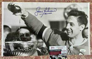 Autographed Jean Beliveau with Stanley Cup 8 1/2 x14 JSA