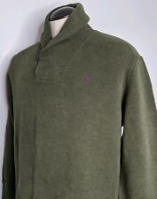 Polo Ralph Lauren Men's Pull Over 1/4 Button Sweater Elbow Patch Cowl Neck Green