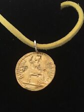 """Aureus Of Tiberius Coin WC58 Gold English Pewter On a 18"""" Yellow Cord Necklace"""