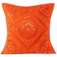 """24"""" Big Orange Mirror Embroidered Sofa Couch Pillow Cushion Cover Colorful Decor"""