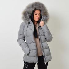 ATTENTIF PARIS Womens Parka Raccoon Fur Quilted Coat -11 Colours - Sizes 8 - 14