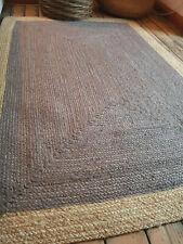 100% Jute Rectangle 90x150cm Scandi Braided style rugs Grey border rustic rug