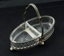 Antique Sterling Candy / Olive Dish Tray Divided Glass Insert Serving Basket