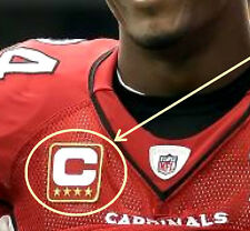 ARIZONA CARDINALS CAPTAINS JERSEY FOUR-STAR 4-STAR⭐ RED IRON-ON C-PATCH