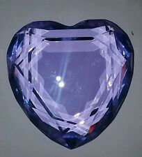 Beautiful Rosenthal Lavendar Blue Crystal Heart Paperweight - Signed W/Box