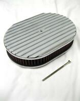 """12"""" NOSTALGIC OVAL FULL FINNED POLISHED ALUMINUM AIR CLEANER w/ WASHABLE FILTER"""