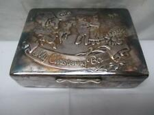 """ARISTOCRAT England Embossed Silver Plate Lined Trinket Box """"My Christening Box"""""""
