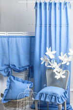 JULIA BLAU PASTELL 2x(120x250cm) Gardine Vorhang Raffgardine Landhaus Shabby NEU
