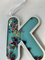 Monogram Letter K Initial Hanging Ornament Christmas Tag Sparkly Sequin Blue