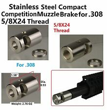 .308 Stainless Steel 5/8x24 TPI Compact Competition Muzzle Brake W Crush Washer