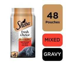 48 x 50g Sheba Fresh Choice Adult Wet Cat Food Pouches Mixed Succulent in Gravy