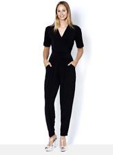 Kim & Co Brazil Knit Short Sleeve Jumpsuit Black 3XL