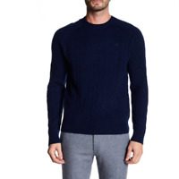 Brooks Brothers Mens Blue Crew Neck Lambs Wool Pullover Sweater Size XL