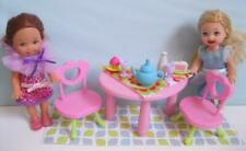 Barbie Kelly fits Chelsea Dolls Tea Party Playset w/Furniture Table/Chairs/Rug +