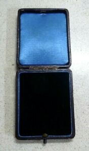 Vintage  Leather,  Blue Silk and Velvet  Rectangular Jewellery Presentation Box