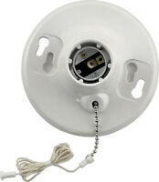 Leviton  Pull Chain Socket  660 watts 250 volts Medium  White, 08827-CW1