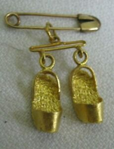 """14K Rose Gold 1"""" SAFETY PIN w/ 22K Yellow Gold 1/2"""" CHINESE SHOES CHARM Lqqk"""