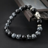 Lucky man Bead 8mm Natural Fashion White spot stone Tibet silver Buddha bracelet