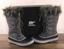 NEW Sorel Women's Joan Of Arctic Boots 10 MED Waterproof NL2429 Grey Suede NIB