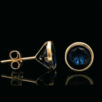 2.00 Ct Brilliant Blue Sapphire Bezel Earrings 14k Yellow Gold Over Round Studs