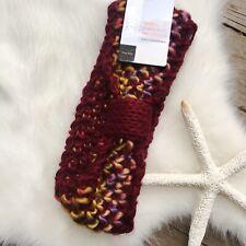 Warm Cable Knit Headband Ear Warmer Womens OS Orange Multicolor