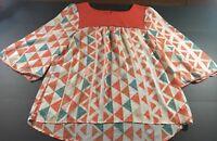 Umgee Womens Size Medium 3/4 Sleeve Blouse Orange Sheer Blouse Shirt Fall Spring