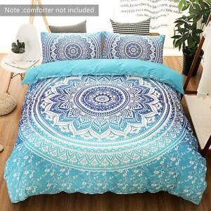 Bedspread Set 3 Piece King Size Boho Mandala Gypsy Soft Blue Pillow Duvet Covers