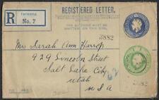 UK GB US 1921 UPRATED REGISTERED POSTAL LETTER 3 1/2 + 1/2d TINTWISTLE TO SALT L