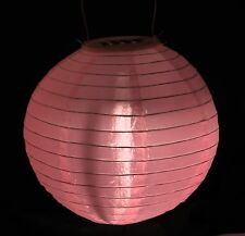 Solar Pink Round Silk Fabric Hanging LED Waterproof Lantern Chinese Party Lights