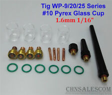 21 pcs TIG Welding  Gas Lens #10 Pyrex Glass Cup Kit for WP-9/20/25 1.6mm  1/16""