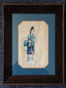 中国通草画,木框架边长尺寸:16.5厘米X22厘米 Chinese painting through the grass, wooden frame side