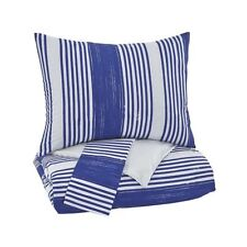 Taries Signature Design by Ashley Twin Duvet Cover Set ~ Blue & Whtie Striped