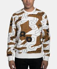 Sean John Men's Cream & Brown COURCHEVEL PRINT CREW Sweatshirt Sz. 2XL