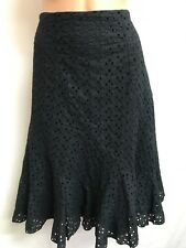 TARGET SIZE 10 GORGEOUS BLACK EMBROIDERED LACE COTTON FLIP HEM SKIRT