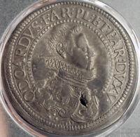 1636, Italy, Piacenza, Odoardo Farnese. Large Silver Scudo Coin. PCGS VF+