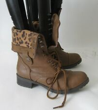 "new ladies Tan 1.5""BLOCK Heel Combat Lace Up Round Toe Sexy Ankle Boots Size 6"