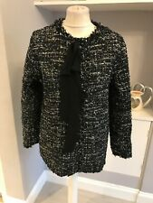 Kilibbi Black Silver Metalic Boucle Tweed Jacket Blzaer Frayed Size L 12