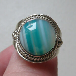 Solid 925 Sterling Silver Blue Agate Ring Size O 1/2 / 7.5