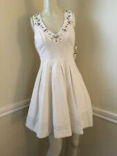 #26 NWT!  Junior's Textured Embellished Ivory Fit and Flare Dress by GB, Sz: XS