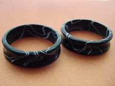 PAIR OF ACRYLIC BLACK MARBLE 1' INCH 26MM PLUGS BODY JEWELRY TUNNELS