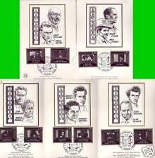 2433/42+ FDC 5 CARTES 1er JOUR SUR SOIE   50 ANS CINEMA