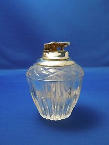 Vintage Glass Crystal Table Lighter No Fluid Silvertone Metal Top