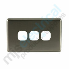 3 Gang Triple Light Switch Brushed Aluminium Cover NEW
