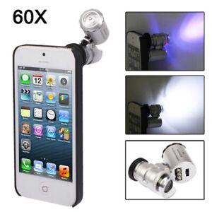 MICROSCOPIO 60X INGRANDIMENTI PER IPHONE 5 5S + COVER 3 LED UV RILEVA BANCONOTE