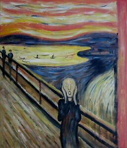 Edvard Munch the Scream Repro, Quality Hand Painted Oil Painting, 20x24in