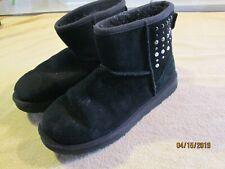 UGG AUSTRALIA Boots Mini Swarovski Pearl Leather Shearling Booties Black 11
