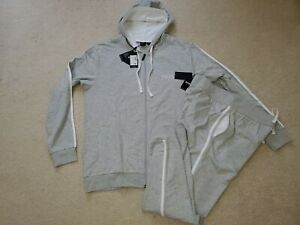 Hugo Boss Men`s 2 Pc Tracksuit Joggers Pants & Hooded Zip Jacket Med Gray Sz.XL
