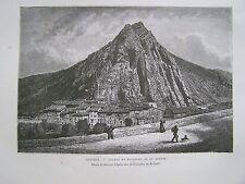 #) H204- gravure sur bois SISTERON ROCHER ET FAUBOURG DE LA BEAUME - 1885