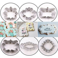 4PCS/Set Stainless Steel Cookie Cutters Frame Fondant Cake Mold Biscuits Mould