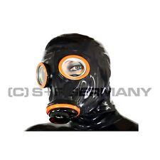LATEXMASKE GASMASKE SET F. FETISH LATEX HEAVY RUBBER CATSUIT KLEID HAUBE MANTEL